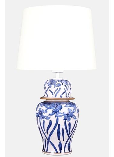Qdec qdec Bleu Blanc Şah Vazo Abajur Çiçekli Yaldız Beyaz Beyaz